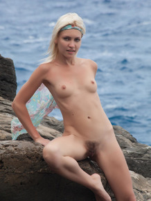 European nudist Cristina A showing off hairy bush & small breasts at beach