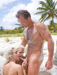 Blonde chicks Boroka Balls and Nesty have a threesome on tropical beach