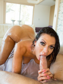 Beautiful MILF Rachel Starr strips against a pole before oiling up for sex