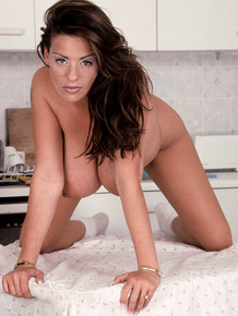 MILF Linsey Dawn in white thong baring huge boobs & big nipples in kitchen