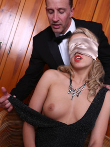 Sexy blonde Christen Courtney discovers she's in for a DP while blindfolded