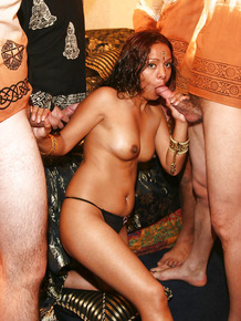 Lascivious indian slut with tiny tits is into hardcore gang bang action