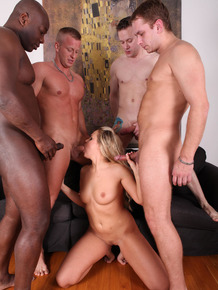 Dirty blonde slut does a double penetration during a gangbang