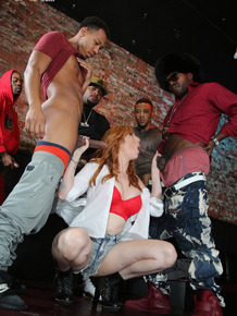 Sexy redhead does a gangbang with big black dicks after closing up the bar