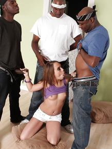Interracial gangbang sex with a hardcore brunette Haley Sweet