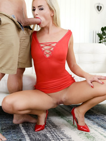 Blonde girl Victoria Pure finger spreads her pussy before anal fucking