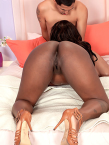 Chubby hot ebony Chantal Raye gets on her knees to fuck with saggy tits free