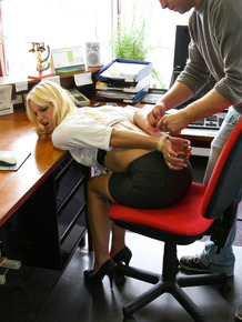 Blonde office lady Ilona gets tied up and dominated at her office