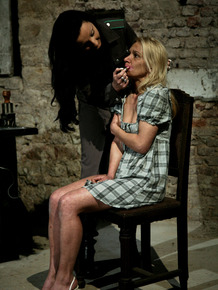 Blond female Mirela is tortured during interrogation session by man and women