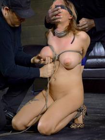 Pain slut Rain DeGrey endures extreme bondage games in a blindfold