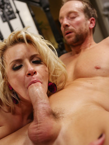 Blonde wife Annika Albrite offers her sexy ass up to her husband