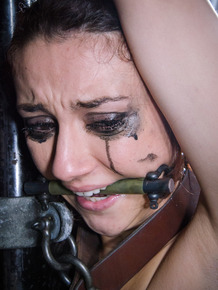 Pain slut Mandy Muse has her makeup run down her face in bondage