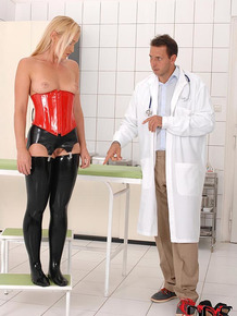 Hot blonde has bare ass spanked by kinky Gyno doctor with BDSM tendencies