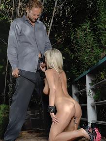 Blonde sex slave Bree Olsen wears a collar while pleasuring her Master