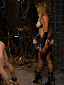 Huge titted dominatrix Felony treats her gagged sub boy to rough strapon bang