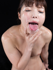 Asian cutie sucks hard big cocks & gets her petite naked body cum covered