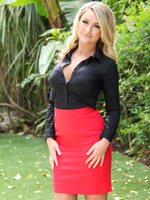 Hot blonde Chloe Addison removes red skirt on way to posing nude on lawn