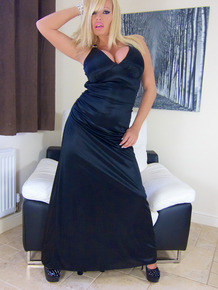 Sexy Michelle Thorne in long dress titty fucking her dildo with her huge boobs