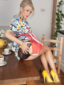 Vintage housewife gets hot in the kitchen & strips to masturbate on the table