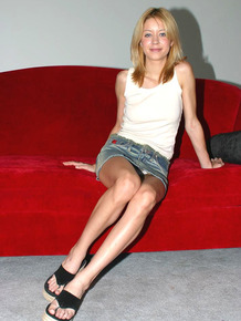 Young looking girl Fiona makes her nude modeling debut on red couch