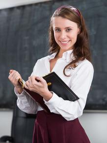 Cute schoolgirl Anya Olsen exposing her slim body at the classroom