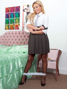 College girl Natalia Forrest frees her bare ass from boarding school attire