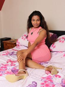 Dark hottie Alishaaa Mae flashes hot upskirt & spreads to show hairy pussy
