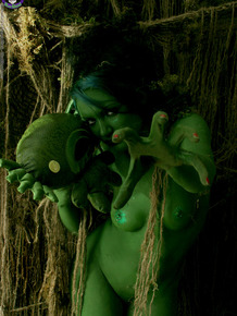 Female swamp creature emerges from the dark with no clothes on her naked body