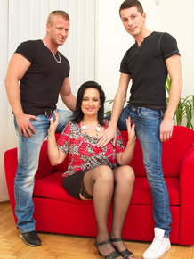 Thick brunette mom has sexual relations with 2 friends of her son