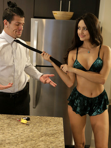 Teen girl with long hair Eliza Ibarra seduces her man as he readies for work