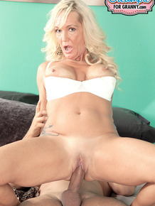Granny Barbi Banks sucks on his pecker before he gives her a creampie