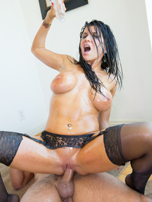 Super busty star Romi Rain oiled up for blowy & hard big cock pounding