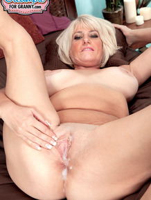 Over 50 lady Desire Collins sports a creampie after fucking her Latino lover