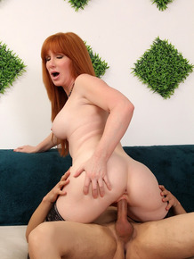 Redheaded nan Freya Fantasia and her young lover fuck like wild things