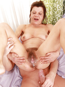 Lustful mature shrew gets her hairy twat cocked up and creampied