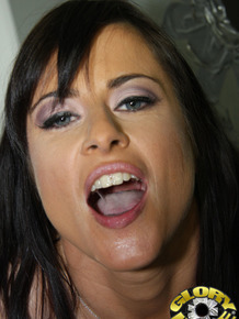 White girl Cecilia Vega sports a mouthful of cum after a BJ at gloryhole