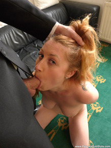 Busty redhead Princess Paris gets on her knees for oral sex before fucking