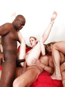 Sexy sluts in heels get double penetration & anal fuck in interracial orgy