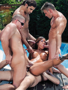 Asian slut gets gangbanged on the patio beside an above ground pool