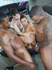 Slim white girl gets double fucked by black men in front of her cuckold
