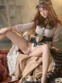 European fashion model Ruzanna A strips off retro garb and pantyhose