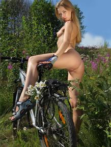 European goddess takes a break in the wild and masturbates