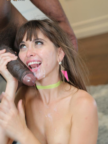 Horny brunette sucks off a big black cock after a thoroughly hard fuck