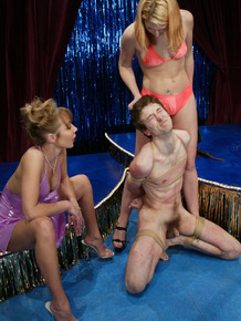 Two dominant blonde bitches torture and humiliate their male slave