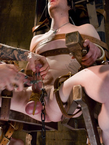Tied up to chair slave nicely dominated by slender mistress Simone Kross