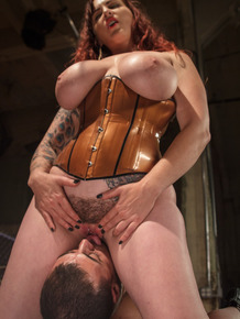 Chubby cougar Mz Berlin roughly dominates over naive young slave