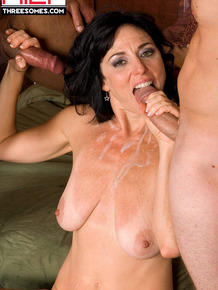 Dark haired chick from a small town has anal sex with 2 men from the big city