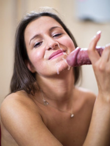 18 year old brunette takes a facial cumshot from her Sugar Daddy