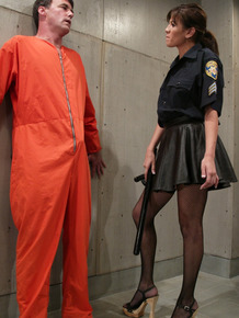 Male prison inmate is humiliated by a female correctional officer