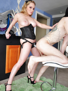 Busty femdom gets banged and bonkes her fucker by a strapon